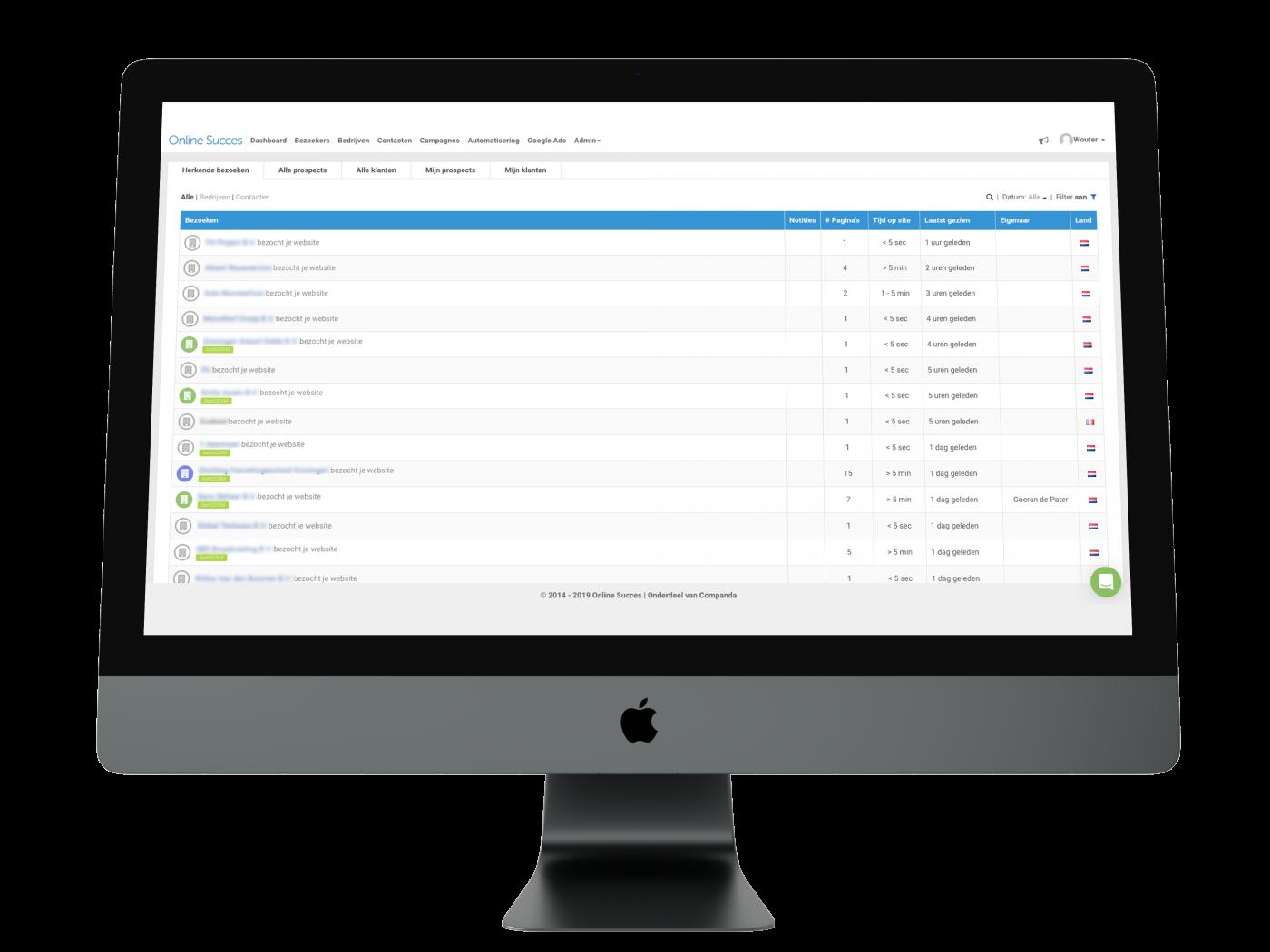 online succes bedrijfsherkenning software tool websitebezoek sellian